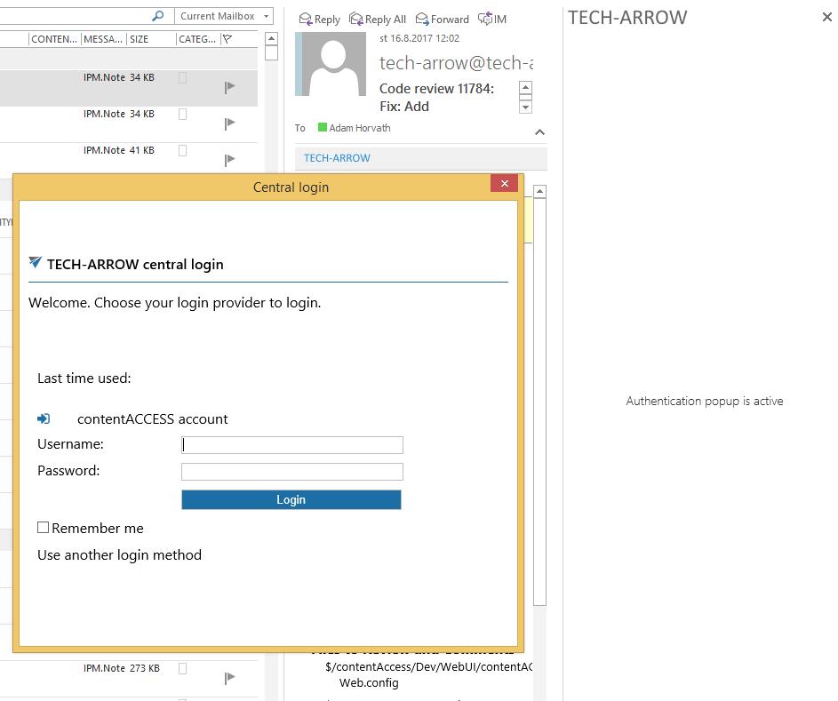 Central login integration into MailApp